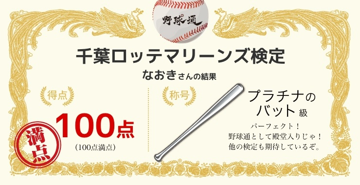 なおきさんの「福岡ソフトバンクホークス検定」の結果
