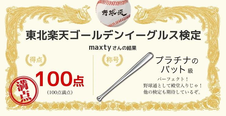maxtyさんの「福岡ソフトバンクホークス検定」の結果