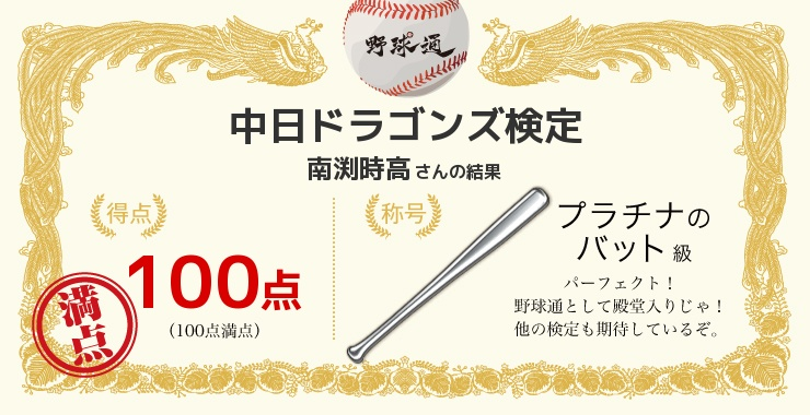 南渕時高さんの「福岡ソフトバンクホークス検定」の結果