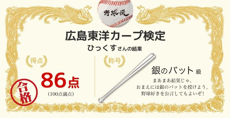 ひっくすさんの「福岡ソフトバンクホークス検定」の結果