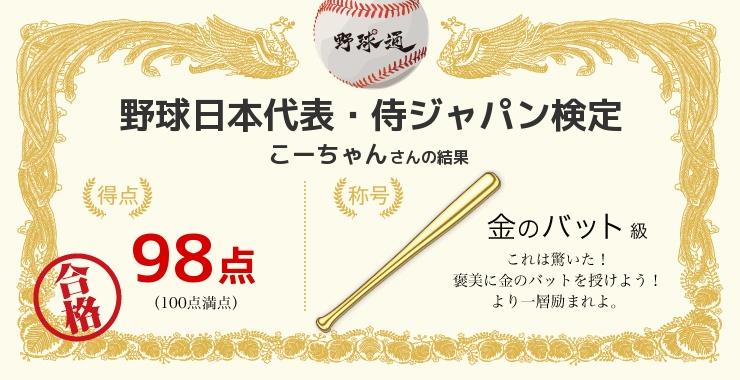 こーちゃんさんの「福岡ソフトバンクホークス検定」の結果