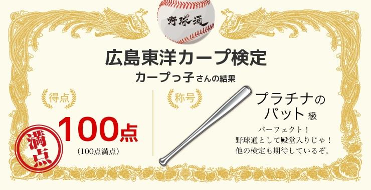 カープっ子さんの「福岡ソフトバンクホークス検定」の結果