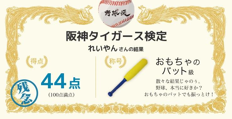 れいやんさんの「福岡ソフトバンクホークス検定」の結果