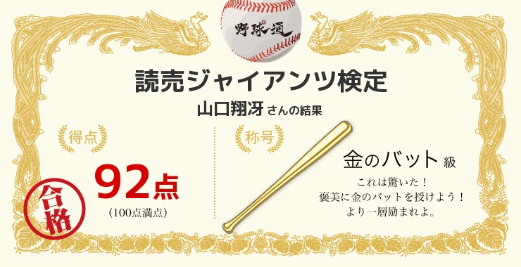 山口翔冴さんの「福岡ソフトバンクホークス検定」の結果