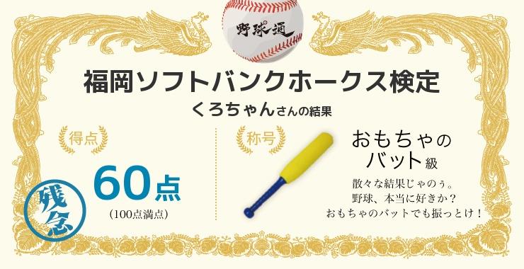 くろちゃんさんの「福岡ソフトバンクホークス検定」の結果