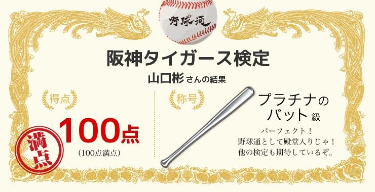 山口彬さんの「福岡ソフトバンクホークス検定」の結果