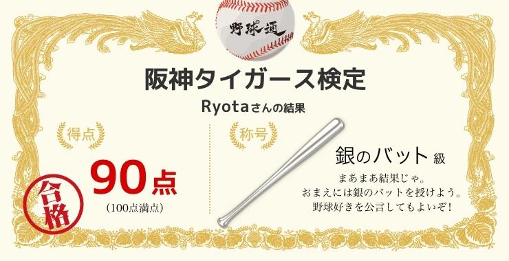 Ryotaさんの「福岡ソフトバンクホークス検定」の結果
