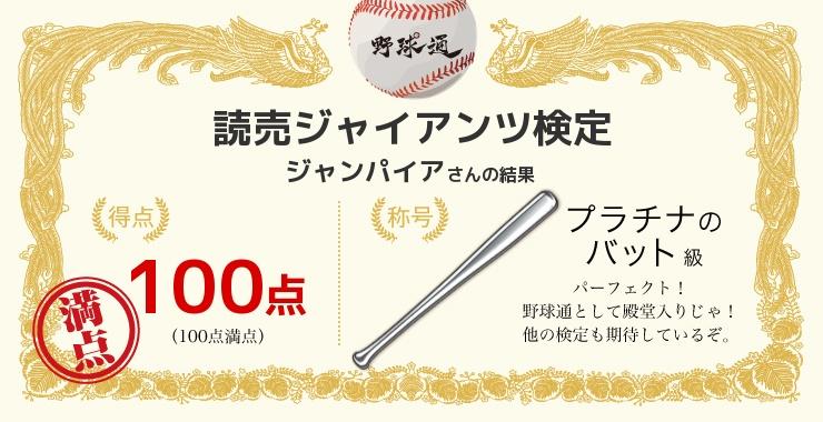 ジャンパイアさんの「福岡ソフトバンクホークス検定」の結果