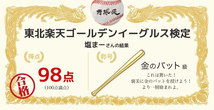 塩まーさんの「福岡ソフトバンクホークス検定」の結果